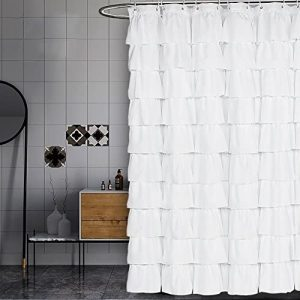 Ruffled White Shower Curtain by Volens - Customized Shower Curtains