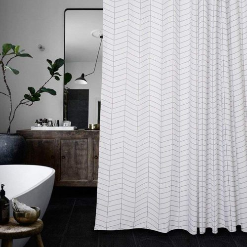 Waterproof Striped Fabric Shower Curtain by AimJerry - Customized Shower Curtains