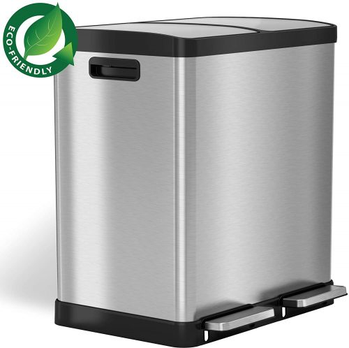 iTouchless Soft Step Dual Compartment Trash Can Recycler - Dual Garbage Cans
