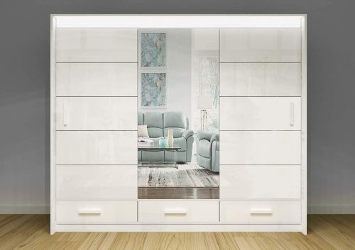 A to Z Modern High Gloss LED Wardrobe - Mirrored Wardrobes