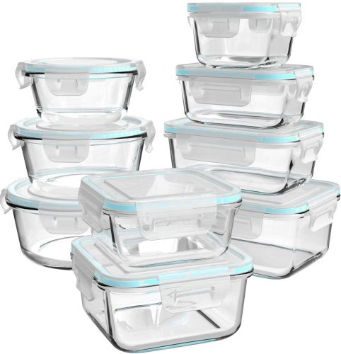 Ailtec Glass Food 18 piece Storage Containers