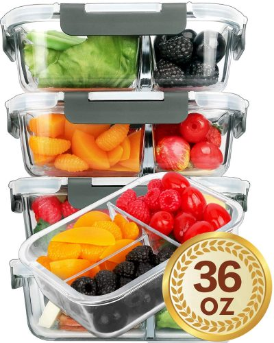 Mcirco Meal Prep Containers with 3 Compartment