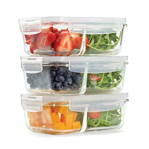 Fit and Fresh Divided Glass Containers