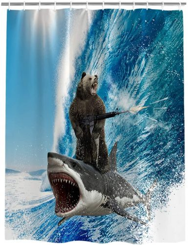 Shark and Bear Surfing Shower Curtain