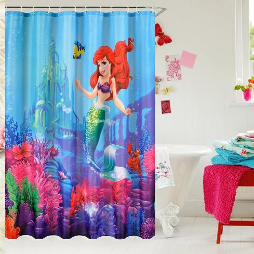 E-GIFT Little Mermaid Castle Custom Shower Curtain
