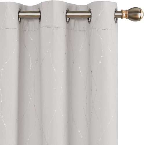 Deconovo Blackout Curtains and Drapes Wave Line with Dots Printed