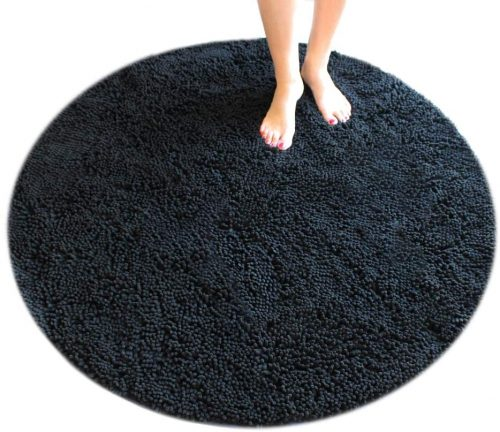 MASADA RUGS, Black Bath Mat Rug Shag Non-Slip - Super Absorbent and Soft Bathroom Rugs