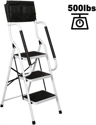charaHOME 3 Step Ladder Step Stool Folding