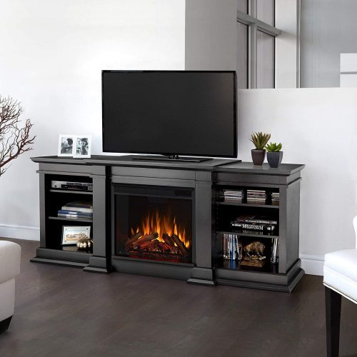 Toyoson Walnut King Size Electric Fireplace TV Stand