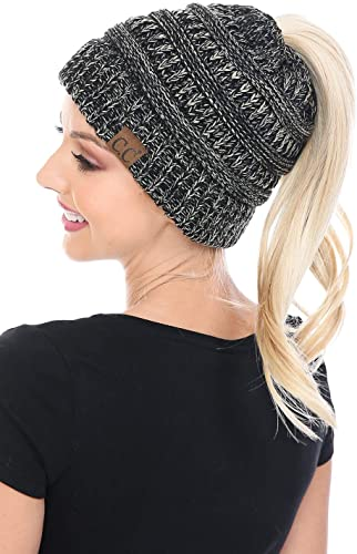 C.C BeanieTail Soft Stretch Cable Knit Beanie Hat