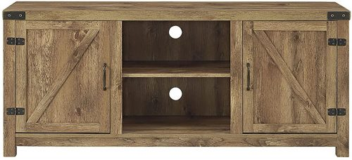 FurnitureMaxx Barn Door TV Stand Fireplace